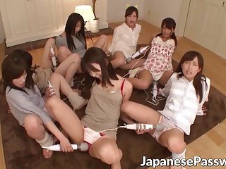 Naughty teenage Asian skanks take a crack at one hot slumber party