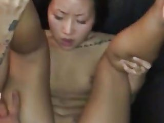 Tattooed Asian Orgasm and Creampie