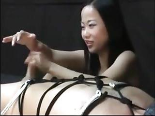Best Asian Femdom and her slave Handjob