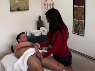 Oriental gal rubs a sizzling customer and gets fucked hard core