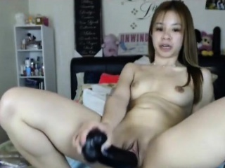 Skinny Asian girl toys creampie pussy more than webcam
