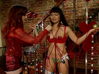 Asian Teen Lackey Christmas Current for White Lesbian