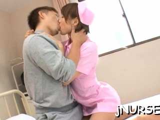 Japanese nurse deals patient's huge wang in sexy manners
