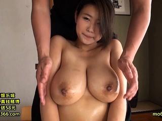 Bosomy Japanese plays with boobs