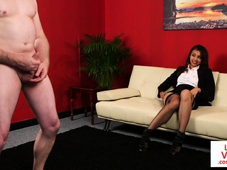 Stockinged CFNM voyeur enjoys sub jerking off