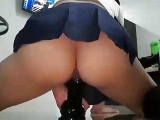 Asian dildo riding