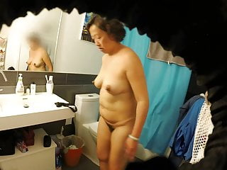 Meaty Flimsy Asian Milf Wife Exposed in Bathroom
