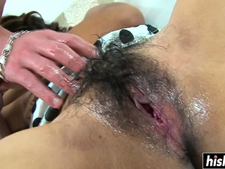 Long cock fits all over her hairy pussy