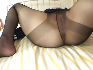 Asian respecting pantyhose is shot with firsthand spunk