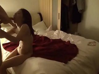 {Asian college girl sucks HUGE white cock} swallows