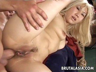Smoking hot Asian babe gets big cock plowed