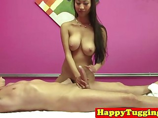 Busty handjob masseuse asian babe
