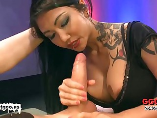 Asian babe with big tits gets banged