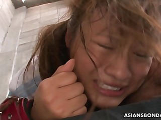 Collared and bound Asian receives a fierce doggy style fucking