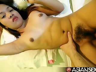 Asian Sex Diary - Cute Filipina struggles taking white cock