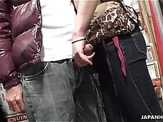 Voyeur catches a coupling attempt oral in a sex shop