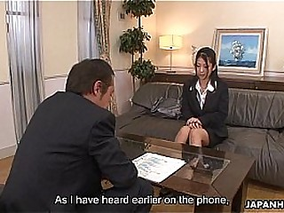 Asian office lady Satomi gives their way pussy up