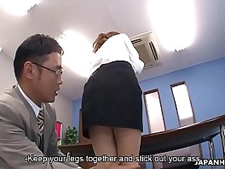 Japanese office lady got the brush holes toyed wits duo dudes