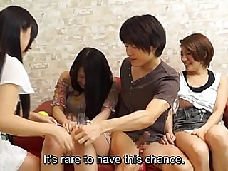 Japanese amateurs having group sex party with Subtitles