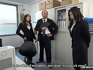 Cute Japanese witch makes her redhead coworker masturbate to orgasm