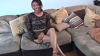 Oriental trans filmed at casting tryout
