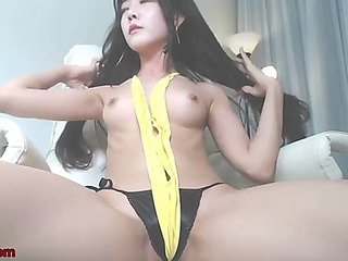 Korean 18yo camgirl masturbates in hawt swimsuit