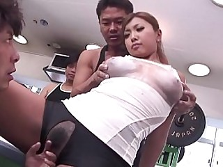 Uncensored JAV gym body paint failure leads to gangbang starting with handjob and blowjob in HD with English subttiles