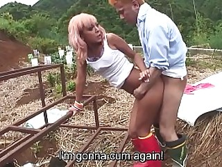 In toto completely JAV featuring insanely tan Japanese gyaru having raw sex outside starting roughly U-turn cowgirl and moving to standing doggystyle sex in HD roughly English subtitles