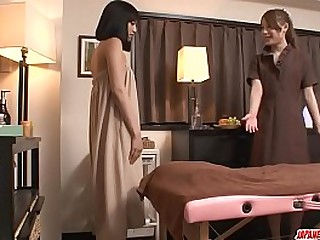 Hot japanese girls fuck during massage