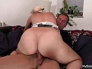 His blonde gf cheating riding oldman cock