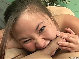 Shlong and ball biting Oriental beauty can't live without abusing him